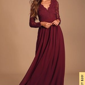Large Lulu's lace long sleeve formal dress
